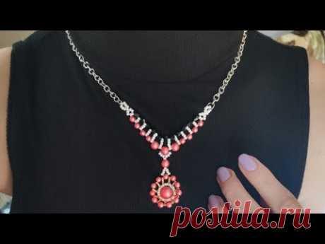 """Ожерелье """"Луна"""" из бисера и бусин / Колье из бисера своими руками - YouTube"""