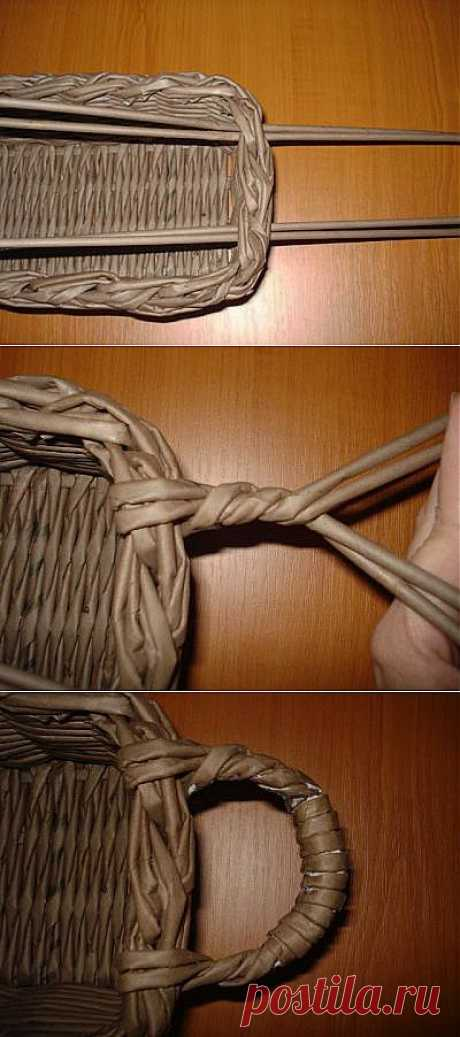 Плетение ручки для корзины (второй вариант)