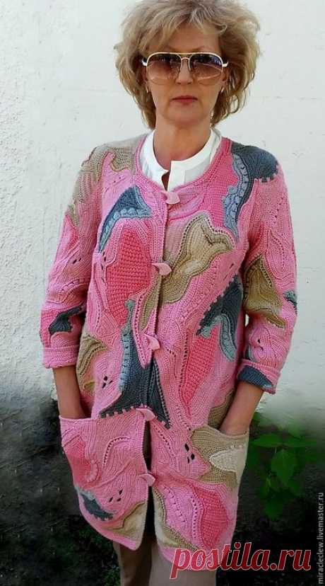 To buy Knitted a coat hook - a cardigan in style friform - combined, abstract, a patchwork, friform knitting