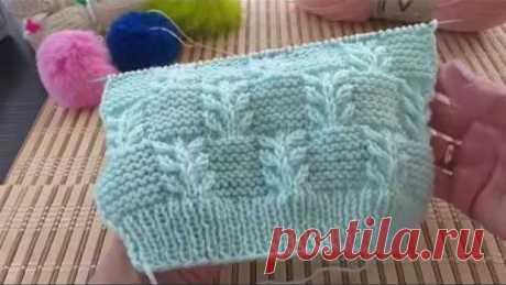 Узор Гиацинт в сочетании с платочной вязкой. Вязание спицами.