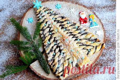 """Пирог """"Ёлочка"""" из слоеного теста: праздничное угощение за полчаса. Рецепт с пошаговыми фото"""