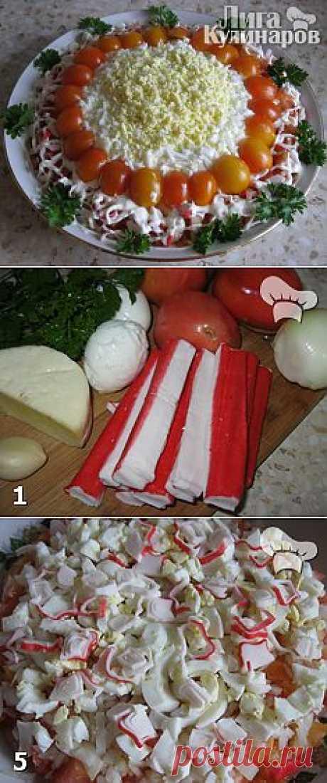 Салат с крабовыми палочками и помидорами — рецепт пошаговый от Лиги Кулинаров