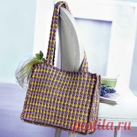Трехцветная сумка через плечо - схема вязания спицами. Вяжем Сумки на Verena.ru