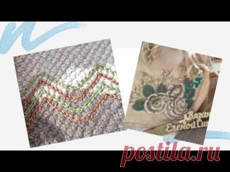 Вот это идея! #Вязание #спицами  и вышивка крючком. #Тамбурный шов