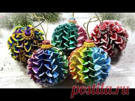 А какие ёлочные шарики понравились Вам? Новогодние игрушки своими руками 🎄 diy christmas ornaments