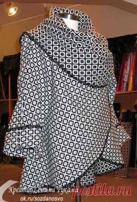 """Накидка-пальто своими руками - быстро и просто Рекомендуемый материал: шерстяное полотно, можно валяное, мохеровое или, как более дешевый вариант, хорошего качества флис.Шьется, вместе с раскроем за полчаса. Проймы обрабатываются, как петли """"в рам…"""
