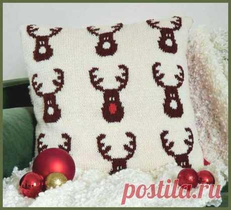 Подушка с оленями Санта-Клауса. Спицами. Схемы. / Вязание спицами