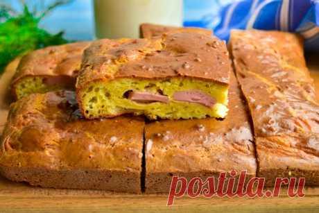 Заливной пирог с колбасой и сыром — Кулинарная книга