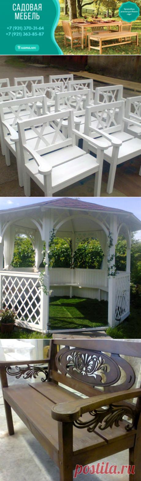 Деревянные скамейки и садовые беседки от компании Бунгало
