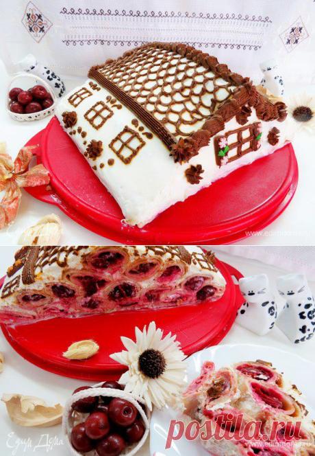 Блинный торт с вишней «Домик в деревне». Ингредиенты: вишня замороженная, лимонный сок, сахар