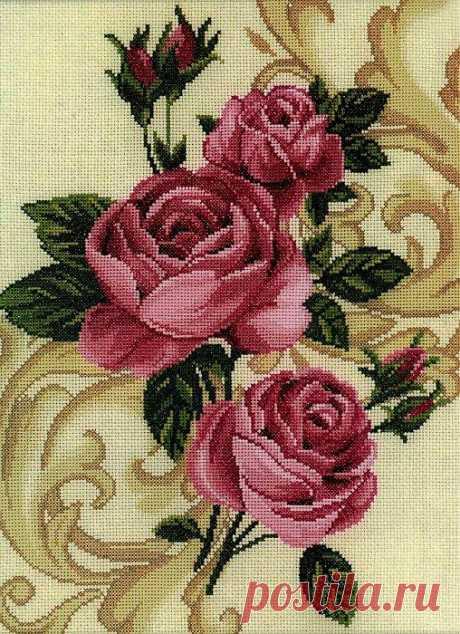 "Схема вышивки крестом ""Розы"" (RTO)."