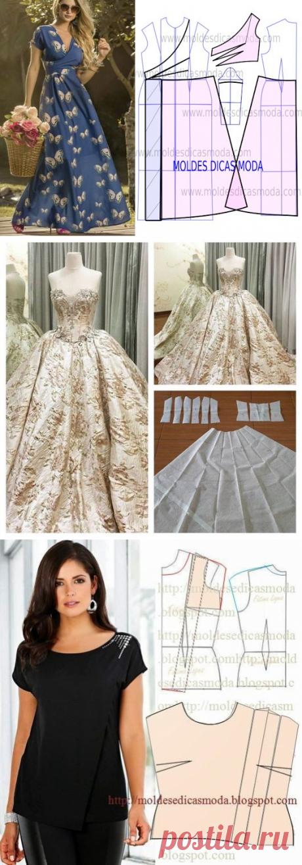 А у меня для вас схемы моделирования собрались: платья, юбки, блузы