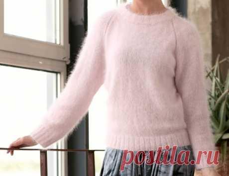 Милый пуловер из ангоры из категории Интересные идеи – Вязаные идеи, идеи для вязания