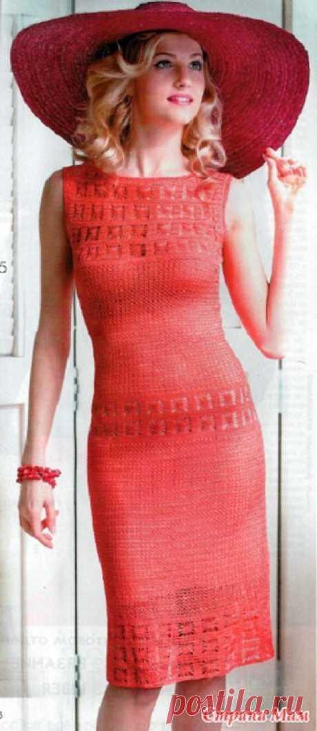 Стильное красное платье крючком.