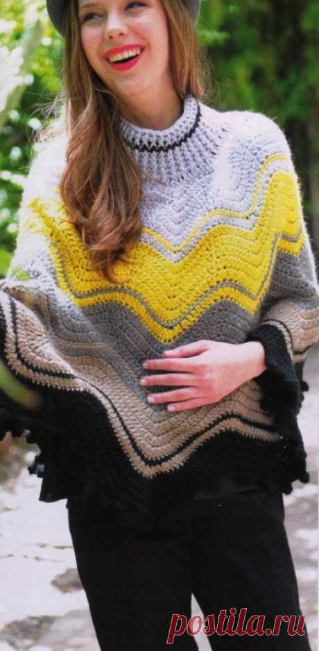 Пончо крючком.Crochet poncho Crochet poncho, free pattern