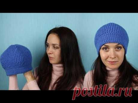 "Шапка спицами ""Косые петли""_How to Knit a Hat ""Diagonal Stitch"""