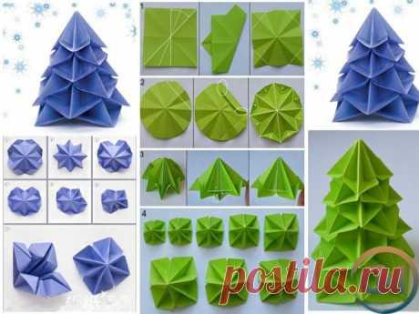 Ёлки-оригами из цветной бумаги