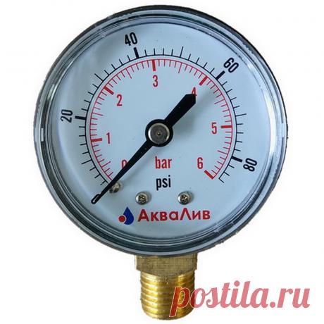 Купить манометр 6 бар радиальный 50 мм АкваЛив (Россия)