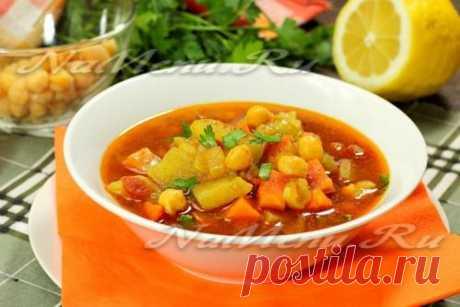 Постный суп с овощами и нутом