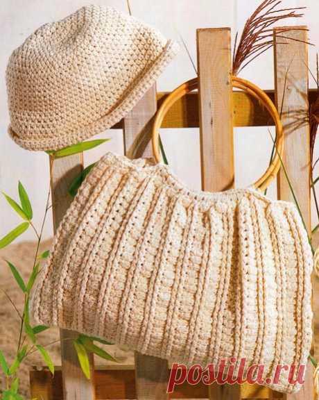 Красивая летняя сумка и панама крючком (схема и описание вязания)   Рукоделие