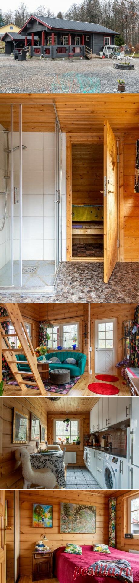 Дом-дача из бруса с антресольным этажом (36 м2) в Швеции! Вместилось все: кухня, санузел, 2 спальни, гостиная и терраса   АРТбук Ульяновой   Яндекс Дзен