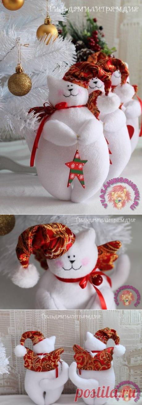 Котик тильда новогодний, с выкройкой - ТИЛЬДА