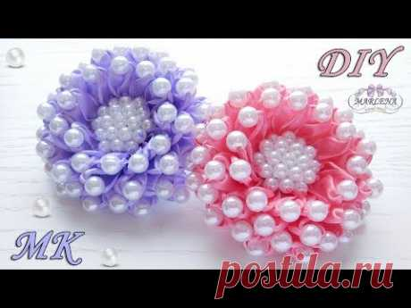 Las flores de las cintas estrechas con las cuentas \/ Flowers of ribbons with beads\/Kanzashi МК\/DIY