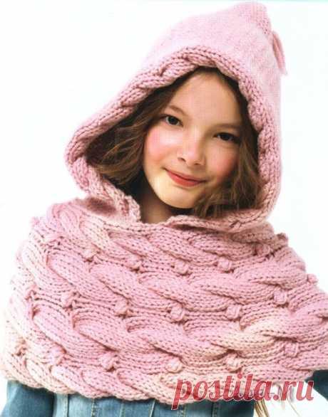 Шарф капюшон для девочки - схема | Вяжем детям