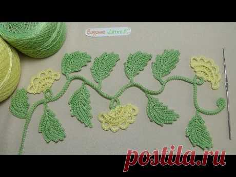 Knitting lesson - the BRANCH with buds - the Irish lace - Irish crochet lace