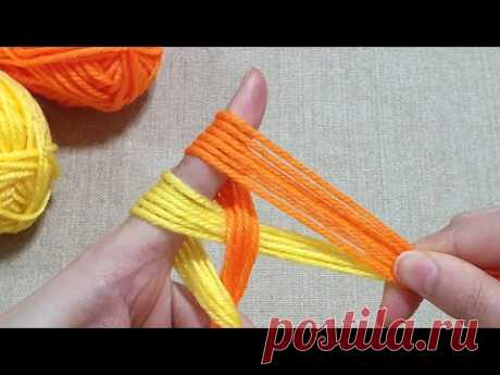 Super Easy Woolen Flower Making with Fingers - Hand Embroidery Design Trick - Amazing Sewing Hack
