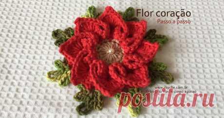 Flor coração passo a passo   Croche.com.br