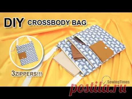 дамская сумка своими руками | Как сшить сумка через плечо с 3 молнией [sewingtimes]