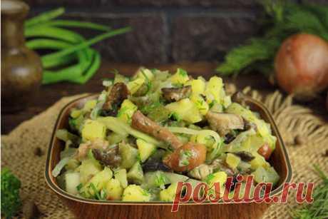 Картофельный салат с соленьями - Кулинарная страница  Для постного рациона и любителям простых, быстрых блюд предлагаем рецепт элементарного, вкусного картофельного салата с добавлением зелени, маринованного лука и солений. Этот аппетитный, с небольшим набором продуктов микс хорош и в качестве гарнира, и в виде закуски, и даже как самостоятельный легкий ужин.