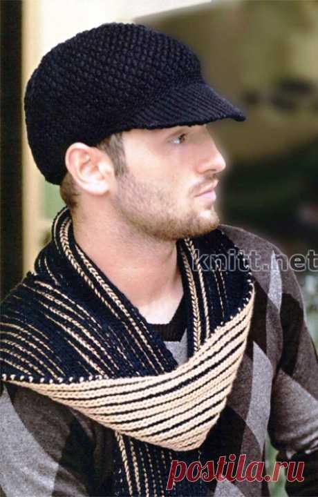 Вязаные спицами кепка и шарф для мужчины, спицы