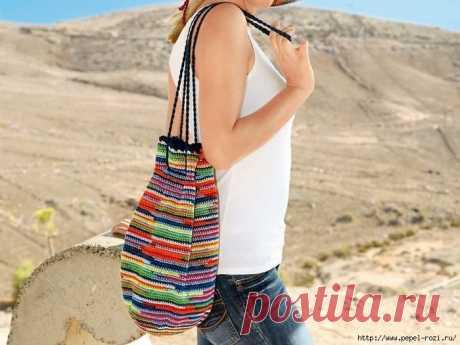 Красивая разноцветная сумка-мешок крючком!