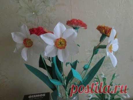 Цветы из ткани. Нарцисс в вазу. Мастер класс. / Цветы из ткани / PassionForum - мастер-классы по рукоделию