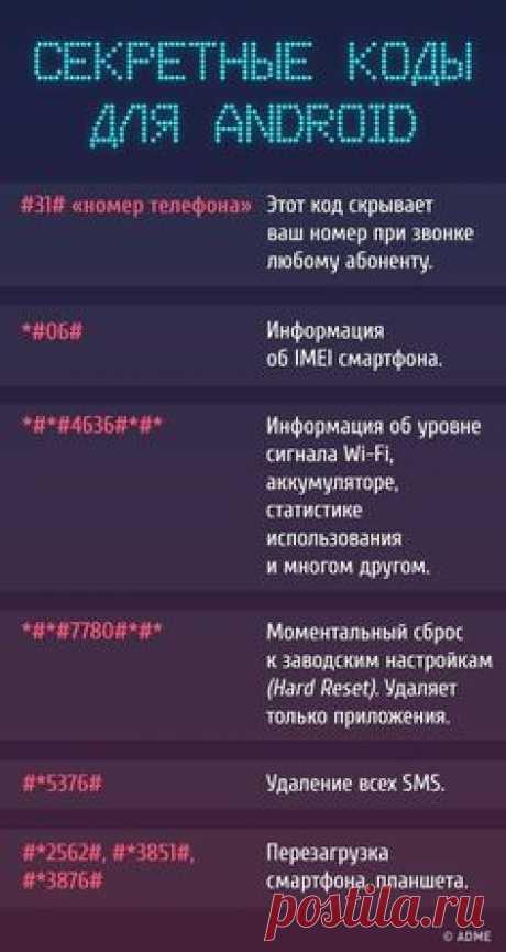 Секретные коды для доступа к скрытым функциям телефона
