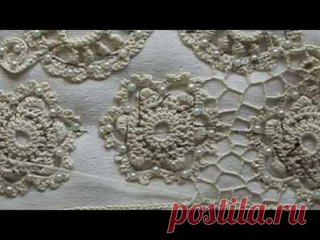 Shity grid. Irish lace. Blouse sleeve.