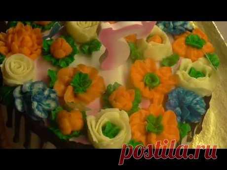 Мой НОВЫЙ КРЕМ. Цветы из масляного крема. Цветы в малайзийском стиле.Юлия Клочкова .