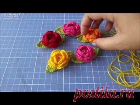 Flor em crochê para aplicação passo a passo