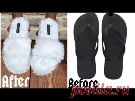 DIY indoor slippers from flip flop• Fluffy indoor slippers