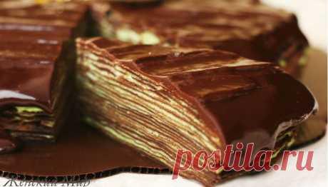 Женский Мир » Шоколадный блинный торт Крепвиль