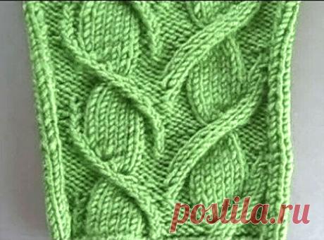 Необычный аран в виде веточки с листьями (Вязание спицами) – Журнал Вдохновение Рукодельницы