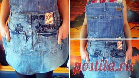 Как сделать фартук из джинсов самостоятельно
