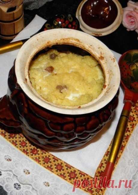 Каша «Боярская» из пшена с изюмом в горшочках в духовке