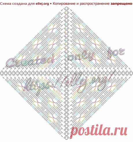 Квадратный мотив, узор для пледа «Клевер» | Вязание крючком от Елены Кожухарь