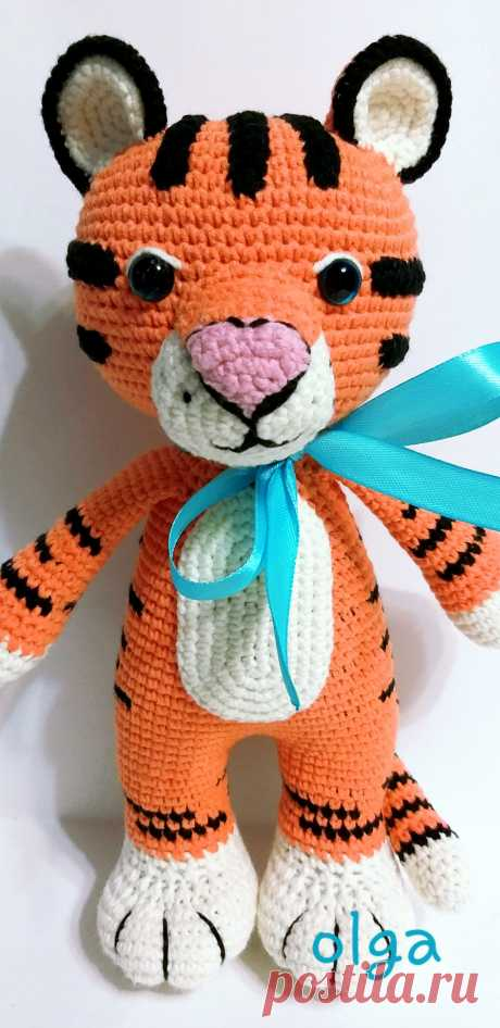 PDF Тигрёнок крючком. FREE crochet pattern; Аmigurumi animal patterns. Амигуруми схемы и описания на русском. Вязаные игрушки и поделки своими руками #amimore - тигр, тигренок, котик, кот, кошечка, кошка, котенок.