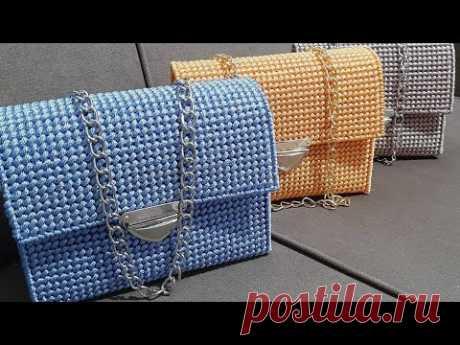 how to make easy bag and nice stitches with plastic canvas شنطة سهل وجميله بالكنفاه البلاستيك