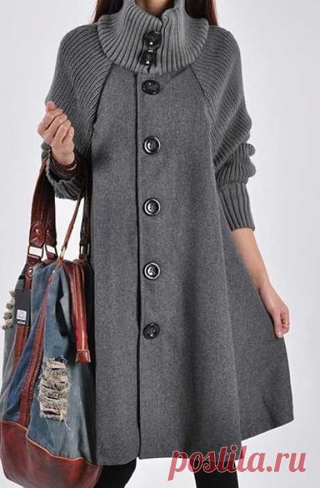 Пальто, комбинированное из ткани с вязаным трикотажем. Подборка фото Шитье | простые выкройки | простые вещи #простыевещи #шитье #вязание #пальто #идея #длявдохновения
