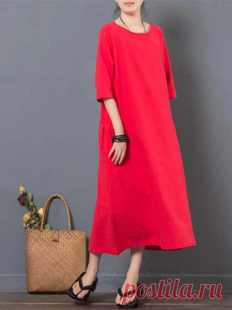 Women Half Sleeve Pocket Pure Color Loose Dresses - US$38.47